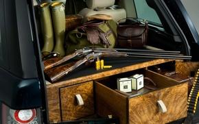 Wallpaper boots, gloves, the trunk, Range Rover, guns, cartridges, bags, range Rover, land Rover, spec.version, Holland ...