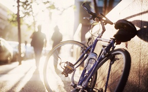 Picture the sun, bike, street, morning, shadows, the sidewalk, silhouettes, bokeh