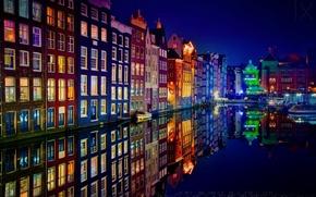 Picture Amsterdam, colori, case, roofs, One, notte, edifici, the city, The Netherlands, canale, luci, barche, facciate