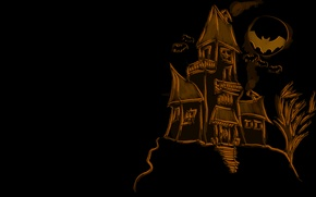 Wallpaper holiday, holiday, bats, halloween, house, 1920x1080, the moon, figure, moon, house, bats, picture