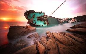 Wallpaper sea, rocks, dawn, ship, China, shipwreck, hongkong