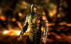 Picture Yellow, Fire, Ninja, Scorpio, Fighter, Mortal Kombat, Scorpion, Mortal Kombat X, MK