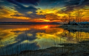 Picture the sky, clouds, trees, sunset, lake, house, the evening, glow