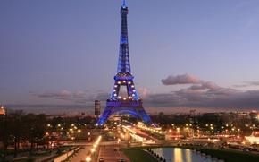 Picture the sky, clouds, the city, lights, Eiffel tower, Paris, France, paris, france