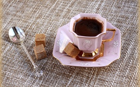 Picture coffee, morning, pink, spoon, Cup, sugar, still life, porcelain