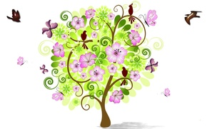 Picture flowers, birds, tree, collage, spring