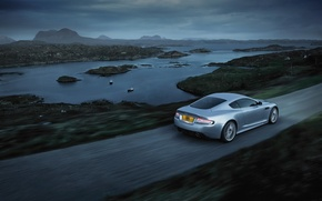 Wallpaper road, river, grey, Aston, Martin, Aston, Martin