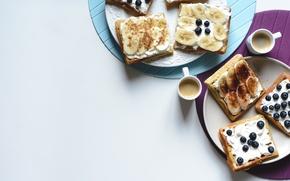 Picture coffee, blueberries, waffles, food, Breakfast, bananas, Gregory Krysmalsk