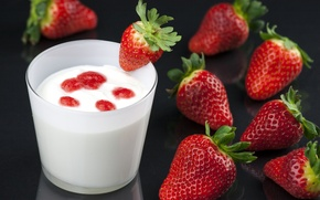 Picture berries, Breakfast, strawberry, dessert, yogurt