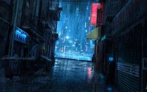 Picture night, rain, people, sign, lane, trash