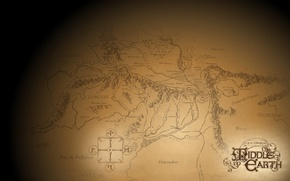 Picture gold, map, The Lord of the rings, Gondor