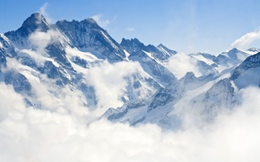 Picture winter, landscape, mountains, nature, fog