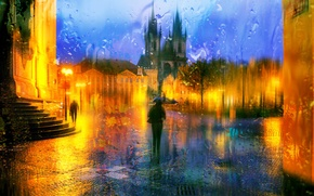 Picture drops, night, rain, Prague, Czech Republic