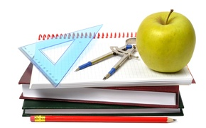 Picture books, Apple, white background, pencil, notebook, line, the compass, accessories, school