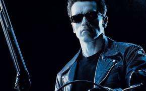 Wallpaper glasses, Terminator 2, Arnold Schwarzenegger, shotgun