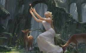 Picture girl, ring, art, fantasy, fragment