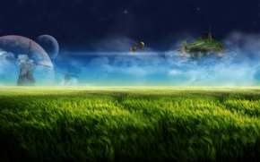Picture the sky, clouds, night, balloons, fantasy, dream, planet, mill, fantasy, grass, sky, landscape, night, meadows, …