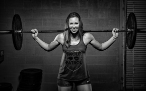 Wallpaper fitness, weightlifter, black and white, weight bar, smile