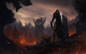 Picture look, girl, weapons, fiction, dragon, art, horns, swords