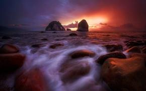 Picture sea, sunset, the ocean, evening.excerpt