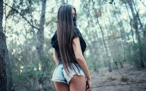 Picture ass, girl, shorts, headband, barbed wire, Art of Nask