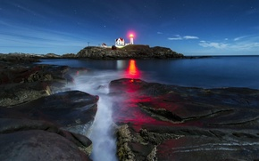Picture the sky, stars, light, lighthouse, island, the Atlantic ocean, USА, York Corner, Concordville