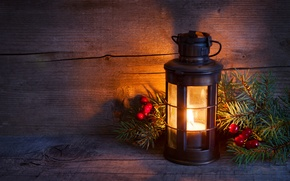 Picture winter, light, tree, candle, spruce, branch, New Year, Christmas, lantern, Christmas, holidays, New Year