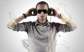 Picture music, watch, headphones, glasses, male, bracelet, shirt, sweater