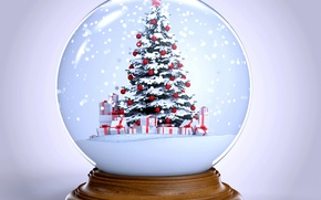 Picture snow, tree, ball, New Year, Christmas, winter, snow, New Year, globe, Cristmas