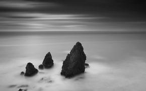 Wallpaper black and white, horizon, 156, rocks