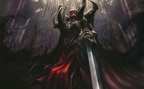 Picture castle, darkness, sword, the demon, warrior, art, armor