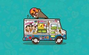 Wallpaper ice cream, van, vector