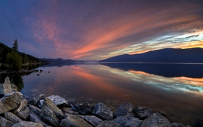 Wallpaper lake, mountains, sunset