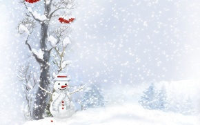 Picture berries, tree, buttons, snowman, scarf, tree, snowfall