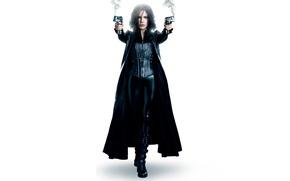 Picture guns, smoke, brunette, costume, Kate Beckinsale, white background, vampire, Kate Beckinsale, cloak, in black, Underworld: …