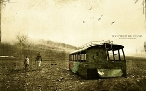 Picture old age, rusty bus, together we stand, the power of the spirit, fading