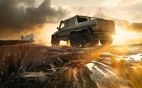 Picture Mercedes-Benz, Sky, AMG, Sunset, Smoke, G63, 6x6, Rear, Ligth, Off-Road