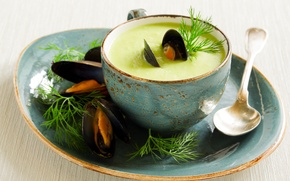 Picture greens, peas, peas, greens, the first dish, the first dish, puree soup with mussels, puree …