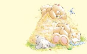 Picture summer, mood, stay, art, bear, hay, Bunny, children's, Forever Friends Deckchair bear
