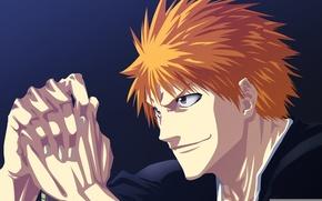 Wallpaper look, face, anime, hands, art, guy, Bleach, Ichigo Kurosaki, blonde