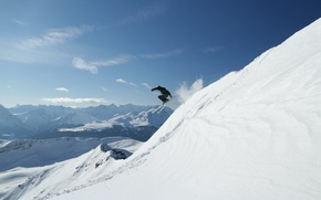 Picture snow, the descent, mountain, slope, skier