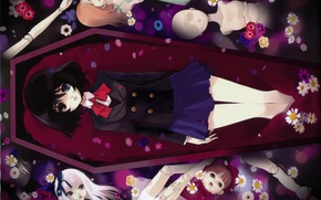 Wallpaper flowers, puppets, the coffin, form, doll, other, bow, misaki mei, another