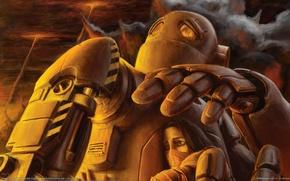 Picture war, robot, Girl