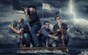 Picture storm, men, the raft