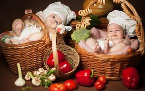 Picture children, kids, two, vegetables, lie, bagels, basket, cooks, Anna Levankova