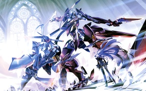 Picture girl, weapons, sword, anime, robots, art, battle, fur, xenosaga, choco