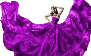 Wallpaper girl, silk, dress, dress, woman, beautiful, silk, purple