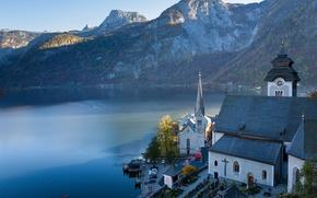 Picture mountains, lake, Austria, Alps, Church, Austria, Hallstatt, Alps, Lake Hallstatt, Hallstatt, Lake Hallstatt