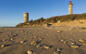 Picture Beach, France, Sand, Lighthouse, Ile de Ré, Charente Maritime, Lighthouse of Whales