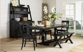 Picture house, vintage, interior, villa, dining room, black wooden, dining table